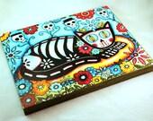 Wood Block Art Print, 8 x 10, Day of the Dead Cat, Skeleton Cat, Whimsical Art, Mixed Media, Blue Black, Wooden Home Decor