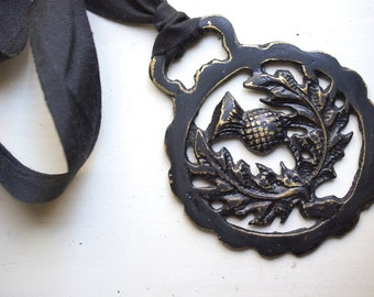 Round Thistle- Painted Vintage English Saddle Charm- black