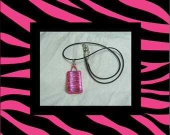 Reversible Hand Painted, Pink Bamboo Tile, Zebra Print Pendant