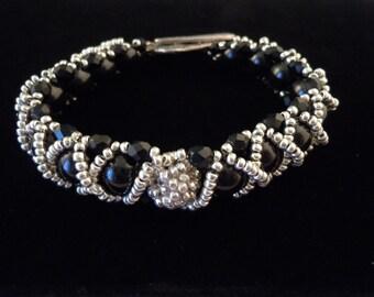 Silver Beaded Bracelet, Beaded Bead Bracelet, Elegant Bracelet, Caterpillar Bracelet, Evening Jewelry, Elegant Jewelry