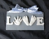 Reserved for Claudia -LOVE-baby hand and double footprint OUTprint plaque and ornament