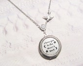 Silver Locket Necklace - I Love You To The Moon And Back - Moon Locket - Christmas Birthday Daughter
