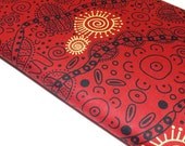M and S Textiiles Bush Tucker Red Aboriginal Design Quilting and Sewing Cotton