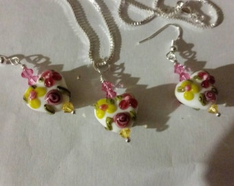 Set of White, pink, yellow, green Lampwork bead, earrings and necklace Sterling Silver chain