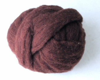 Polypay Wool Roving for Spinning -- Chestnut 14 -- 4 oz.