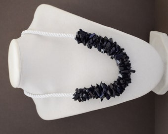 Blue gold stone chip crochet bold sparkly  rope necklace