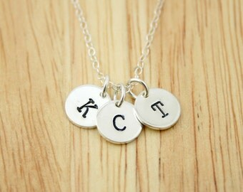 Sterling silver small initial necklace - three initial necklace - personalized hand stamped silver jewelry