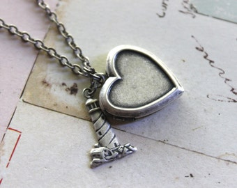the lighthouse. locket necklace. silver ox