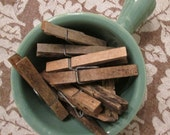 Vintage Wooden Clip Clothespins - One Dozen Well Weathered