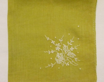 Vintage Hanky/ Handkerchief - Embroidered Lime Cotton - Something Old