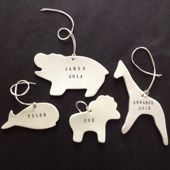 CUSTOM animal ornament in your choice of shapes for nursery or  first Christmas  by Paloma's Nest