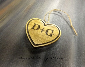 Custom Initial Ornament Rustic Heart Ornament Wood Bride and Groom Ornament Engraved Ornament Routed Wood Ornament Personalized Ornament