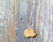 Wood Hedgehog Pendant with Sterling Silver Chain