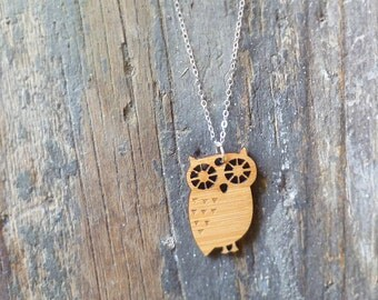 Bamboo Wood Owl Necklace with Sterling Silver Chain