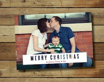 Simple Christmas card, custom colors, Modern Christmas card, Christmas photo card, printed or printable card