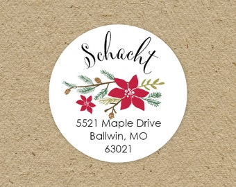 Custom return address labels, round - Christmas poinsettia