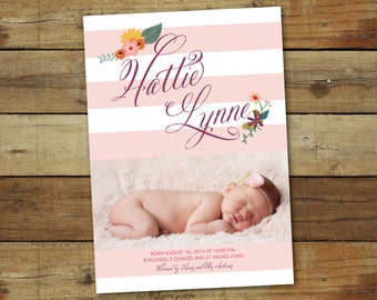 Photo birth announcement for baby girl, typography baby announcement, flowers and stripes,
