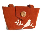 SALE - Corduroy Wayfarer Purse - Bird on Branch Applique - Handbag - Burnt Orange - Vegan