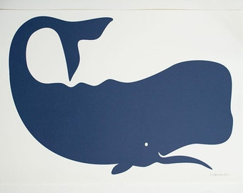 FRAMED - Navy Blue Whale Print - large - custom framing