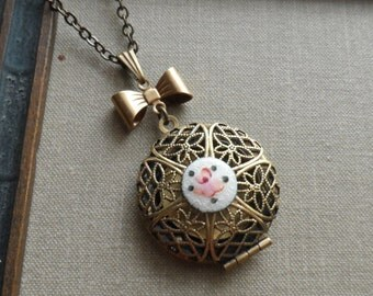 Wild Rose, Scent Locket Necklace with Vintage Enamel Cameo