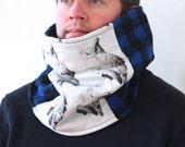 Cowl Scarf Neckwarmer Blue Black Buffalo Plaid Wool Fleece Lined Cozy Great Horned Owl 25% Proceeds benefits Owl Rehab // by Nicoles Threads