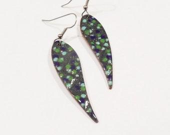 Earrings Copper Enamel earrings leaf shape gray with blue and green dots