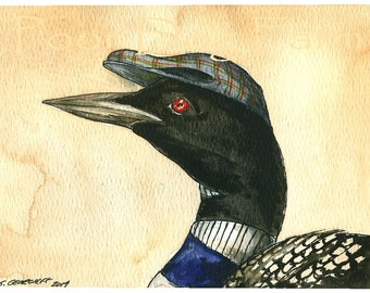 A Loon in a Hat - print