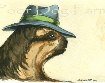 A Dapper Sloth in a Hat- print