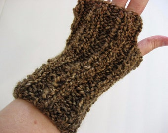 Hand Knit Fingerless Gloves, Shades of Brown, Thick and Bulky Vegan Friendly Acrylic Hobo Texting Driving Hooping Wrist Arm Warmer Gauntlets