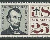 Vintage Unused US Postage Stamp 25c Abraham Lincoln Airmail Stamp .. Pack of 10