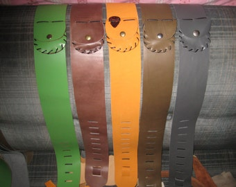 Leather Guitar Strap with Pick Pouch Handmade Adjustable Comfortable