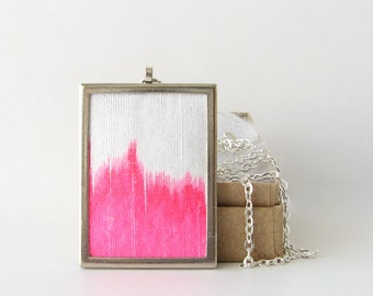 Neon pink necklace, rectangular pendant, dyed silk necklace, bright pink jewelry, fuchsia necklace