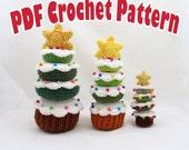 PDF Amigurumi / Crochet Pattern Donut Christmas Tree Stacking Toy CP-14-3237