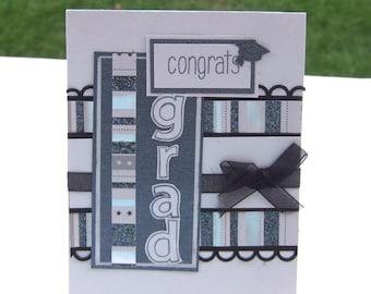 Congrats Grad Card, Graduation Card, High School College Graduation, Black and Silver Grad Cap