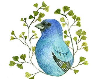 bird art, bird painting, bird art print, bird watercolor-Indigo Bunting Portrait - Print of original watercolor