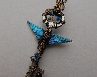 Winged Key Pendant -- Blue Inked Feathered Winged Wire Wrapped Antique Key with Swarovski Crystals -- Blue Angel Key