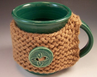 Hand Made Pottery Mug with Clay Buttons and Yarn Cozy/Sweater