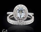 14kt White Gold 1 carat Aquamarine Wedding Set with Diamond Double Halo and Channel Set Diamond Half Eternity Wedding Band - LS3313