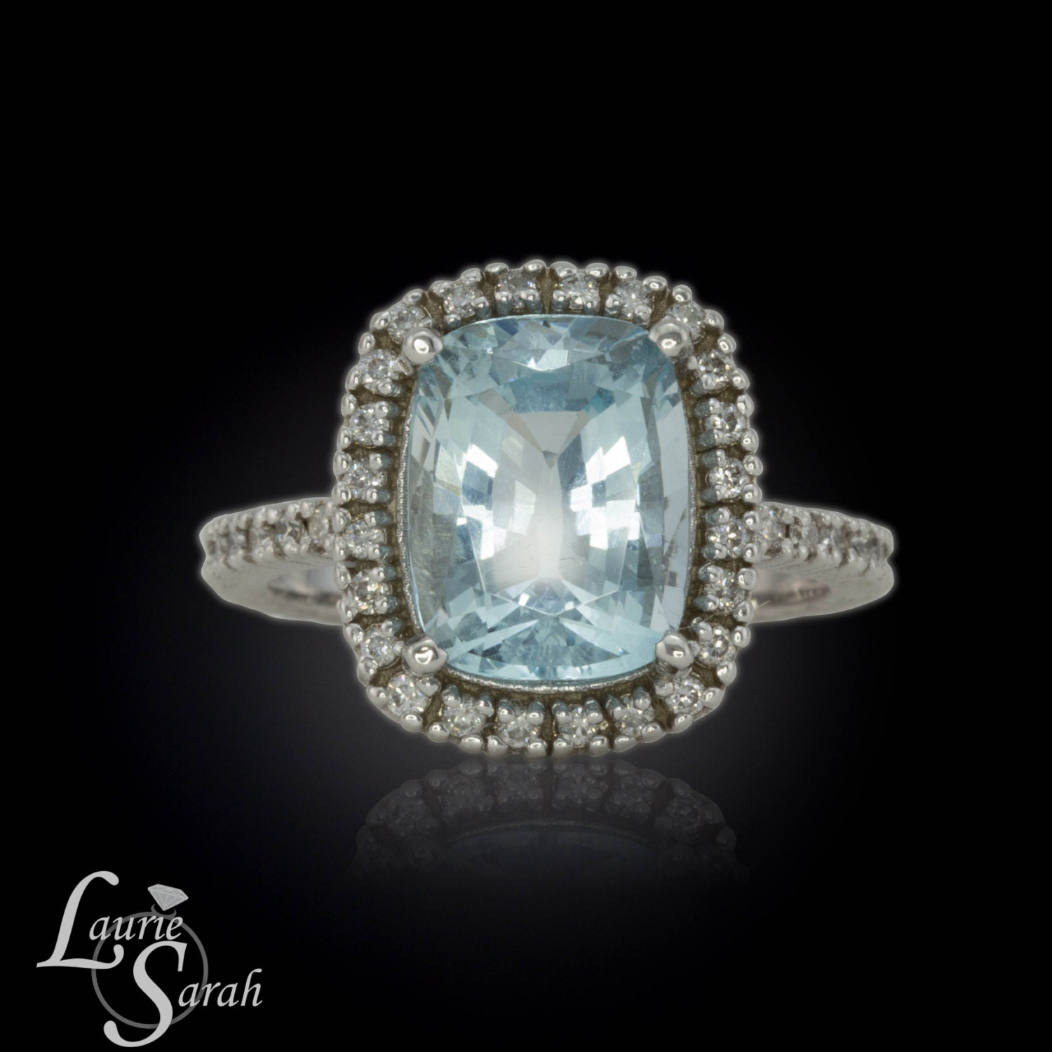 Cushion Cut Engagement Ring Rectangle Cushion Cut Aquamarine