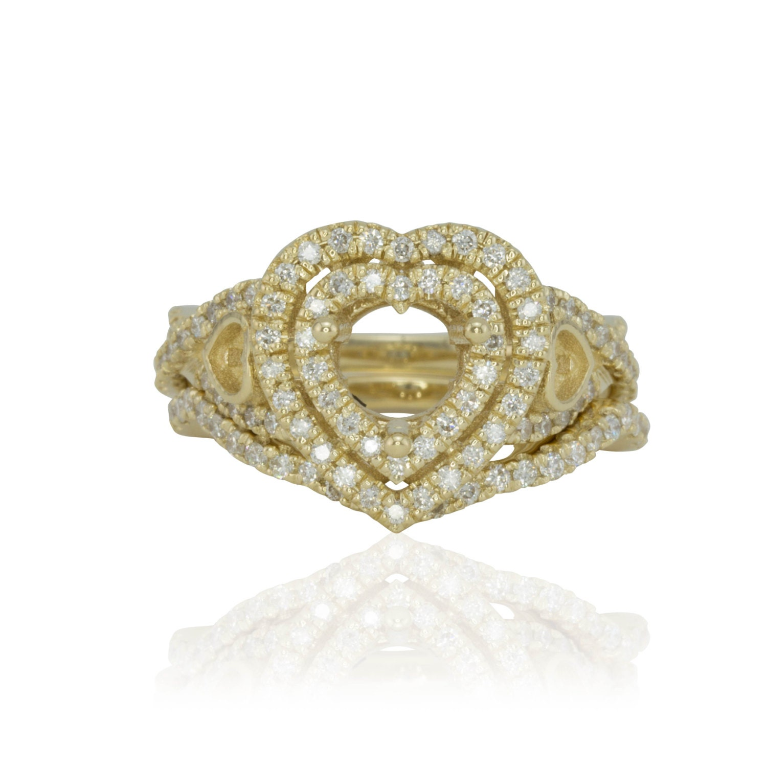wedding ring set yellow gold heart shaped by