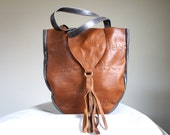 SAMPLE////Brown and Grey Leather Monogram Tote