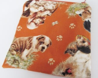 WET BAG / Zippered MINI Wetbag Puppy Dogs - Purse sized 6 x 6 Free Shipping
