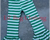 St. Patricks Day Leggings, Christmas Green And White Stripe Comfy Knit  Holiday Ruffled Leggings