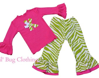 Custom Boutique Lime Pink Zebra Personalized Tee and Pant Outfit