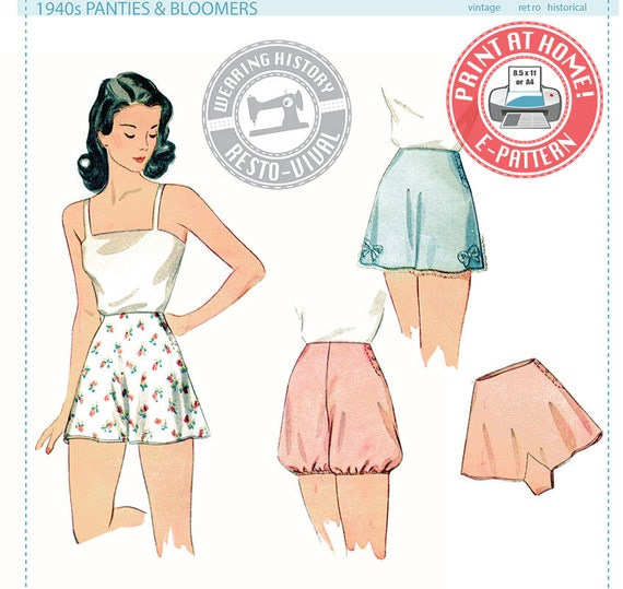 1940s Lingerie- Bra, Girdle, Slips, Underwear History E-Pattern- 1940s Panties & Bloomers- Wearing History PDF Vintage Sewing Pattern $12.00 AT vintagedancer.com