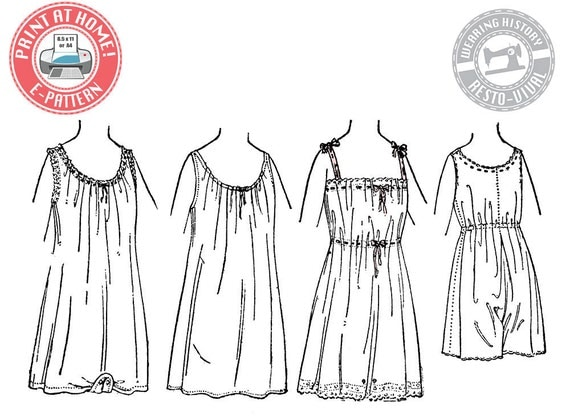 Titanic Edwardian Sewing Patterns- Dresses, Blouses, Corsets, Costumes 1917 Combination Underwear & Chemise - Wearing History PDF 1910 Vintage Historical Costume Sewing Pattern $9.99 AT vintagedancer.com