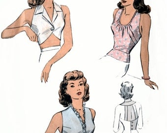 1940s Halter Blouse Bare Back w/Peplum DuBarry 6044 Vintage Rare 40s SWING ERA Sewing Pattern Size 14 Bust 32