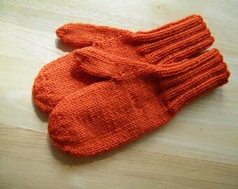 MITTENS HAND KNIT Adult Wool Tangerine
