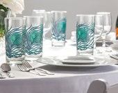 Peacock Feather Glasses - 4 Everyday Water Glasses - Peacock Feathers, Peacock Wedding Glasses, Peacock Feather Glass, Peacock Wedding Glass