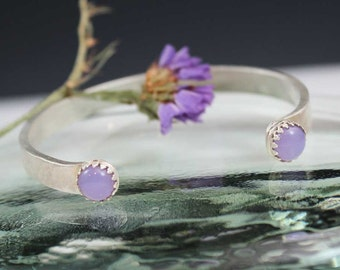 Lilac Roots Fused glass Cabochon Sterling Silver Cuff Bracelet, rustic, artisan, metalwork, handmade